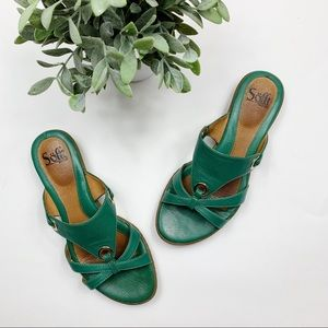 Sofft green leather strappy slides sandals